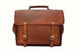 Brown Plain Leather Laptop Briefcase