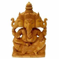 Wooden Three Face Ganesha Statue