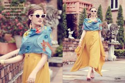 Rachna Bluebell Mode Silk Pattern Cut Kurti with Stole 5