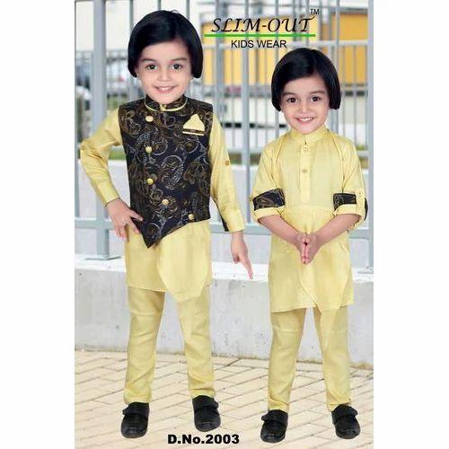 Boys Kids Wear Cream Brown Kids Trendy Kurta Pyjama a736107e2e74