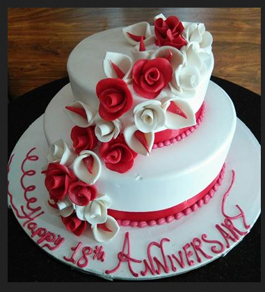 2 tier red and white fondant flowers anniversary cake cake n 2 tier red and white fondant flowers mightylinksfo