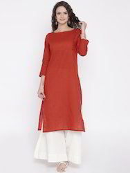 Beautiful Red Cotton Slub Kurta