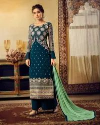 Georgette A-Line Pr Fashion Launched Beautiful Designer Heavy Embroidered Straight Suit
