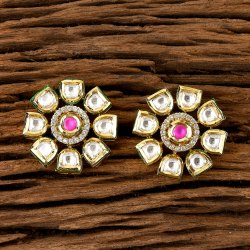 Brass Stud Earring Kundan Tops Earring with Gold Plating 300291