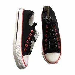 Black Mens Lace Up Canvas Shoes, Size: 40-44