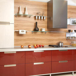 Burgundy Color Laminated Kitchen Cabinet