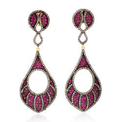14kt gold pave diamond dangle earring gemstone jewelry