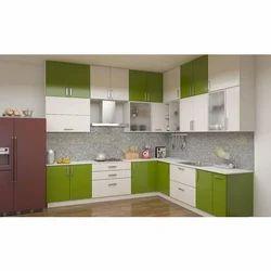 Pee Cee Interiors Green and White Modular Kitchen Wardrobe