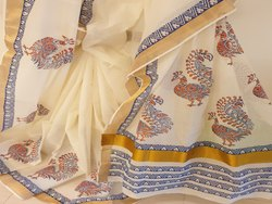 Kalamalini Block Prints Kerala Cotton Saree, With Blouse, 5.5 m