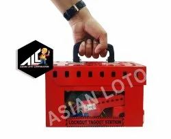 Red Steel Asian Loto Transparent Group Lockout SAFETY Box, Multipurpose