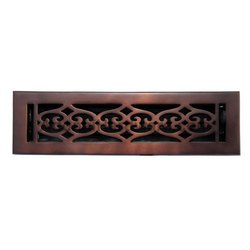 Flower Bronze Wall Register with Louver - 2-1/4inch x 10inch (3-1/2inch x 11-3/8inch Overall)