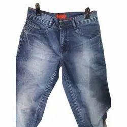 Mens Regular Fit Plain Denim Blue Jeans