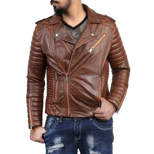 f5c045152af BARESKIN Brown Quilted Biker Leather Jacket