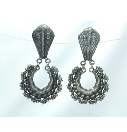 Antique Silver India Tribal Jewellery Earring Snake Design Chandi