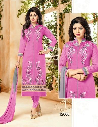 f502f2b7b7 Embroidered Pink Cherry Blossom Chanderi Cotton Suit Material