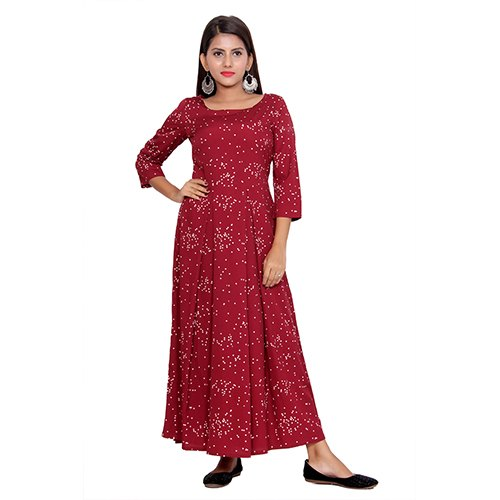 Casual Red Crepe Long Kurti