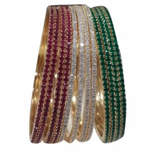 Party American Diamond Fancy Bangle Set, Packaging Type: Packet