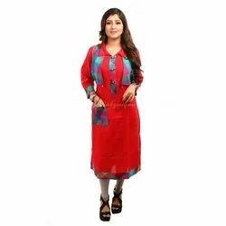 3/4th Sleeve Party Wear Ladies Cotton Jacket Kurti, Size: S, M, L