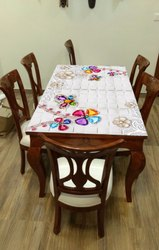 Six Seater Dining Set with Top  Printed Glass