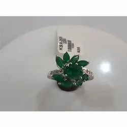 Designer Emerald Sterling Silver Ring