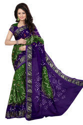 Party Wear Multicolor Bandhani Silk Saree