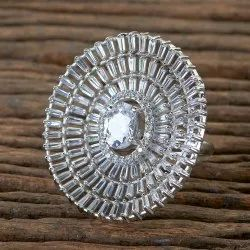 White Brass CZ Rhodium Plated Classic Ring with 406291