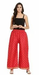 Richlook Fashion Regular Fit Women''s Chikan Embroidery Palazzo Pants For Women