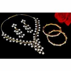 Alloy, Simulted Cz Stones Golden Ladies Necklace Set, Occasion: Party Wear
