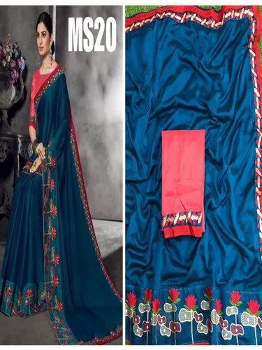 Details about  /Blue Zari Resham Embroidered Stones Vichitra Silk Saree /& Unstitched Blouse