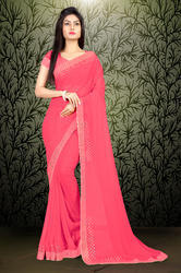 Riva Enterprise Women's Georgette Hot Flix Border Work Baby Pink Color Saree