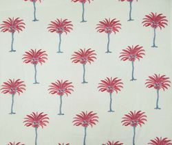 Palm Tree Hand Block Print 100% Cotton Fabric