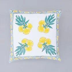 Floral Hand Block Print 16 x 16 Cushion Cover
