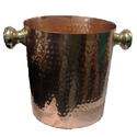 Solid Pure Copper Chiller Ice Bucket With Brass Handle