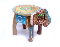 Natural Hand Painted Hand Made Wood Stool Indian Traditional Elephant Decorative For Home