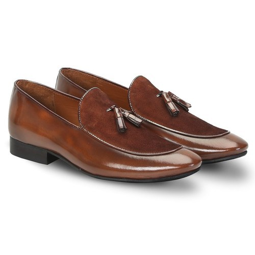 f5c7d5f0257a Brown Leather Mens Formal Loafer Shoes With Tassel