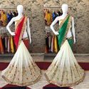 Designer Embroidery Work Half & Half Saree