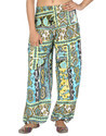 Art Silk Printed Black Harem Regular Casual Girls Trouser