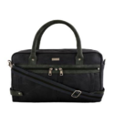 Grey Green Synthetic Leather Laptop Bag