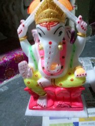 Handmade Indian Ceramic  Hindu God  Ganesha Statue  Pooja Mandir