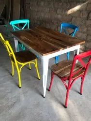 Cross Back Iron Chair for Cafe