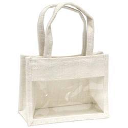 White Jute Gift Bag With PVC Window