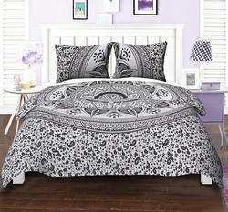 Black White Ombre Queen Cotton Printed Duvet Cover
