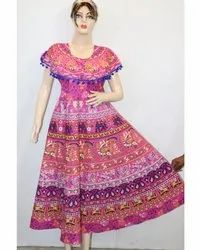 Round Neck Ladies Printed Cotton Frock