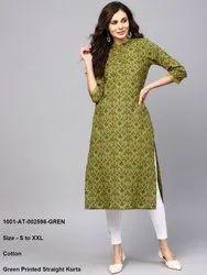 Green Printed Straight Kurta