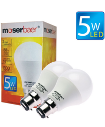 5W ECO LED Bulb B22 Pack of 2 Cool White