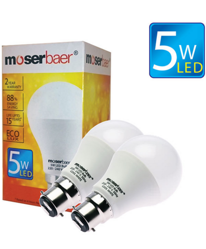 5W ECO LED Bulb B22 Pack of 2 Cool White