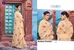 Shangrila Heena Soft Linen Saree With Embroidery Work Concept