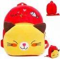 Soft Red Cat Velvet Plush Bag For Kids