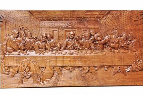 Indian nilgiri teak last supper carved in teak wood id