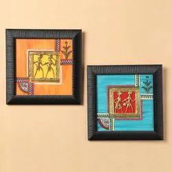 ExclusiveLane Sunset Orange & Ocean Blue Handpainted Warli & Dhokra Square Wall Painting Set
